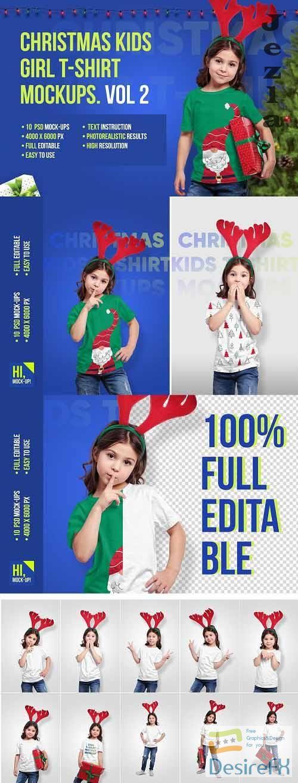 CreativeMarket - Christmas Kids Girl T-Shirt Mockups 5691730