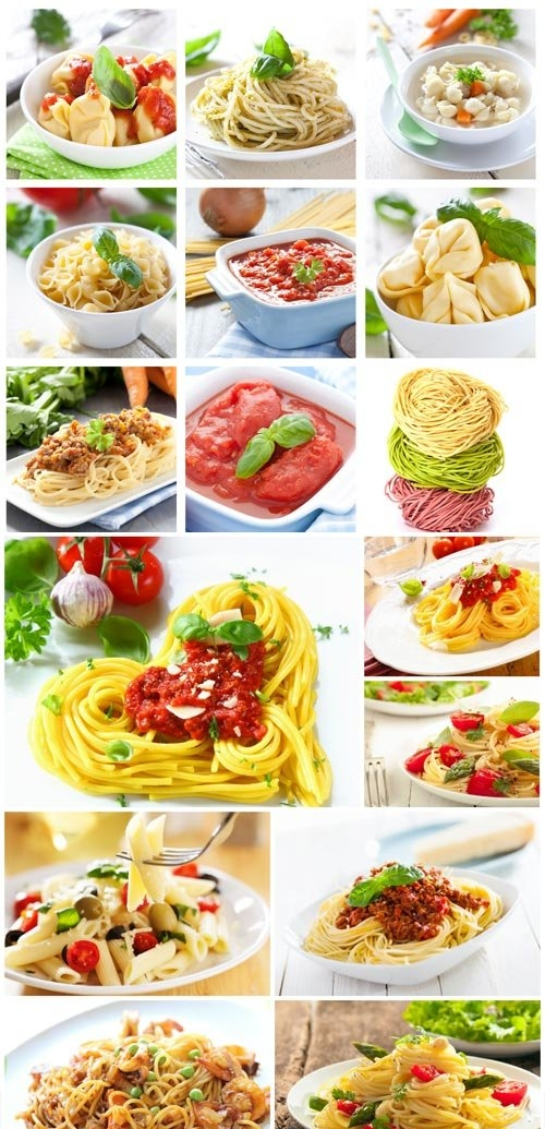 Dishes with different types of pasta stock photo