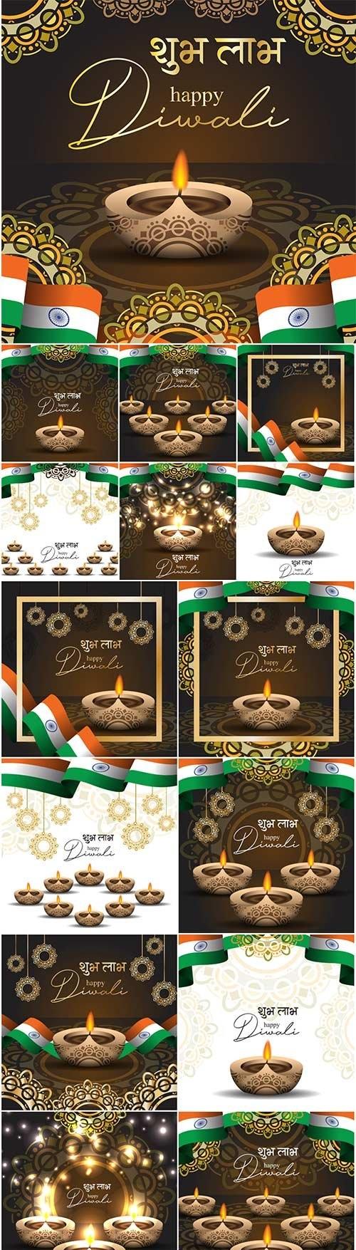 Diwali festive illustrations in vector