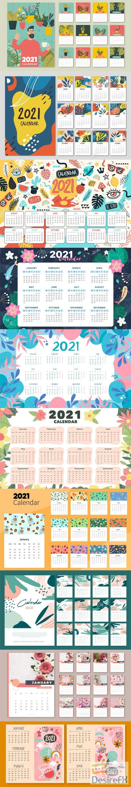 10 Hand-Drawn Illustrated 2021 Calendars Templates in Vector