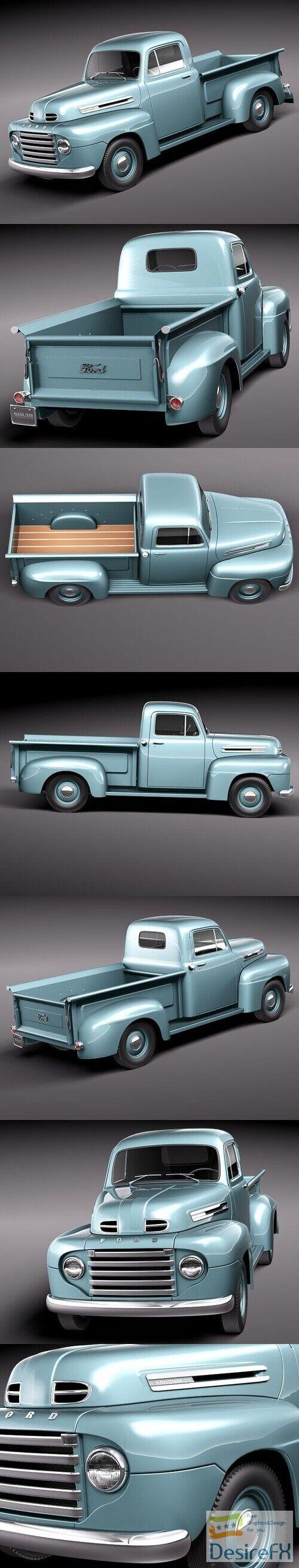 Ford F1 Pickup Truck 1950 3D Model
