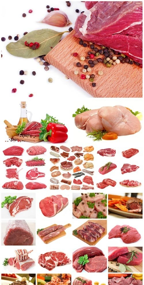 Fresh poultry and pork stock photo