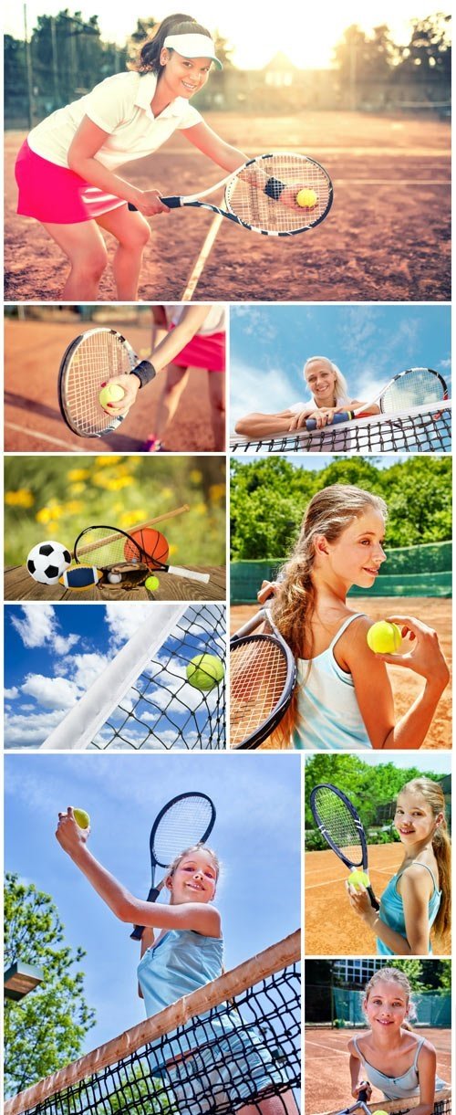 Girls playing tennis stock photo