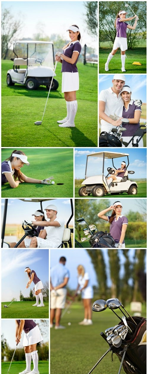 Golf, man and woman on golf course stock photo