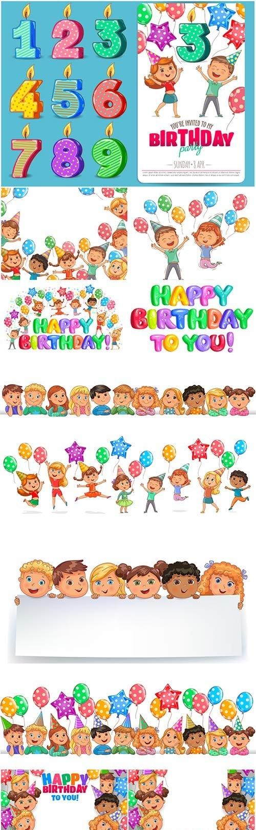 Happy birthday vector illustration, funny kids