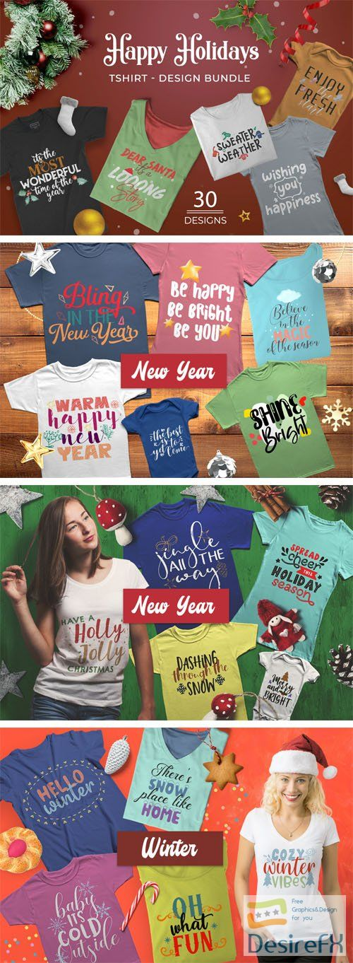Happy Holiday T-shirt Design Bundle PSD/PNG