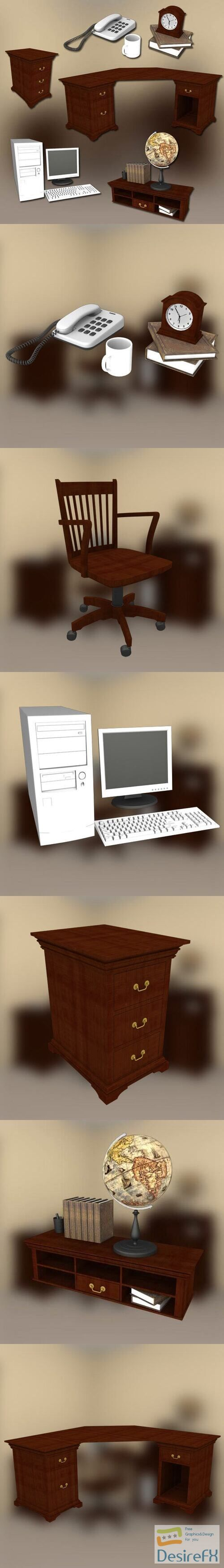 Home WorkPlace 3 Set 3D Model