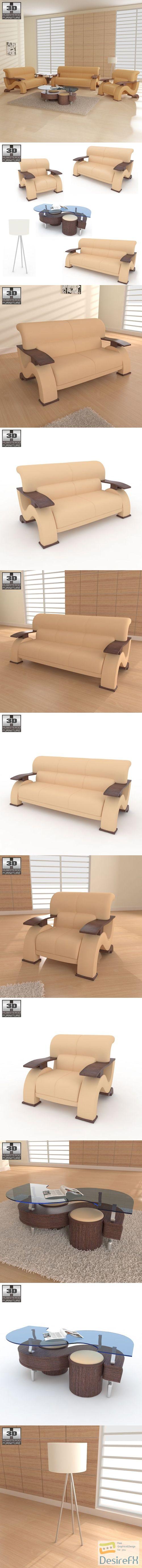 Living Room Furniture 06 Set 3D Model