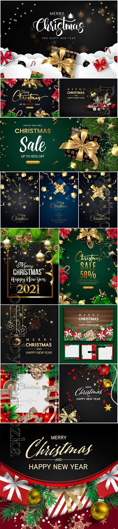 Merry christmas greeting card design with beautiful gifts packages