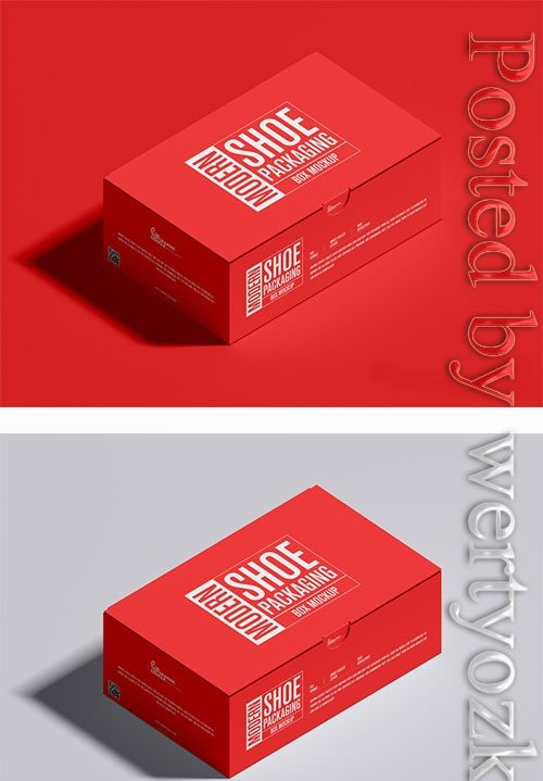 Modern Shoe Packaging Box Mockup PSD
