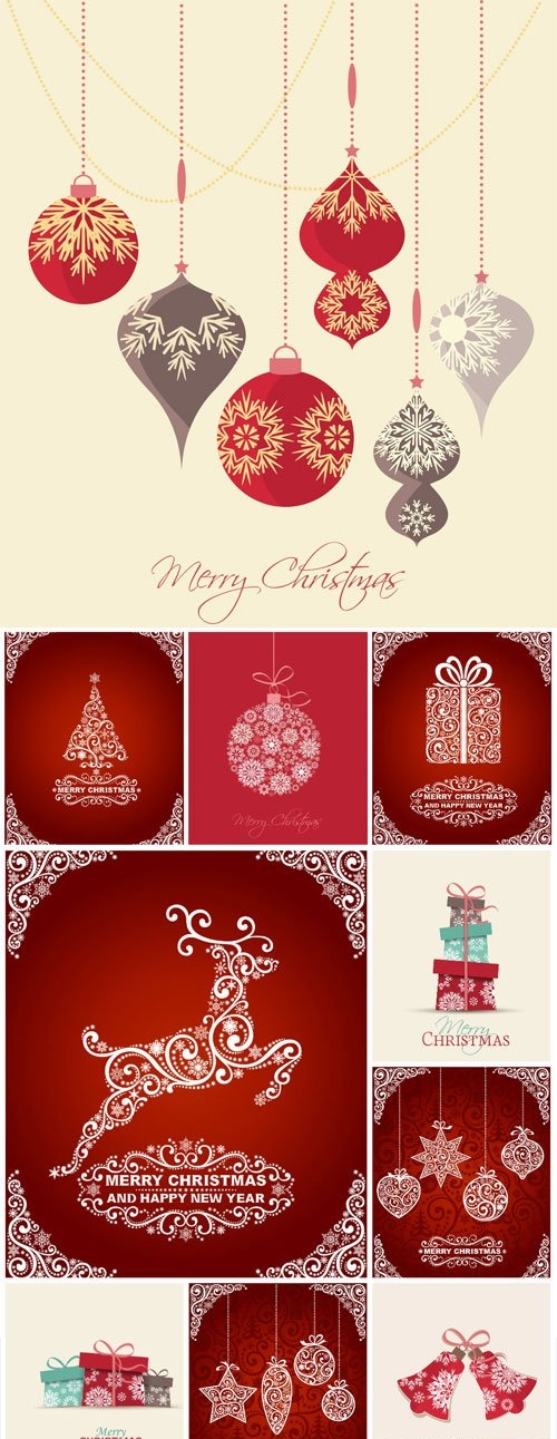 New Year and Christmas illustrations in vector - 25