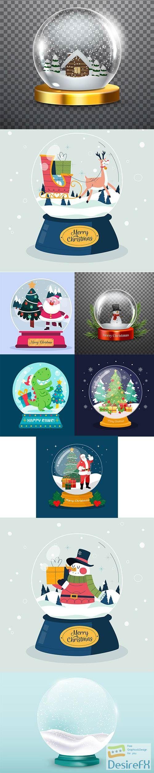 Realistic christmas snowball globe vector