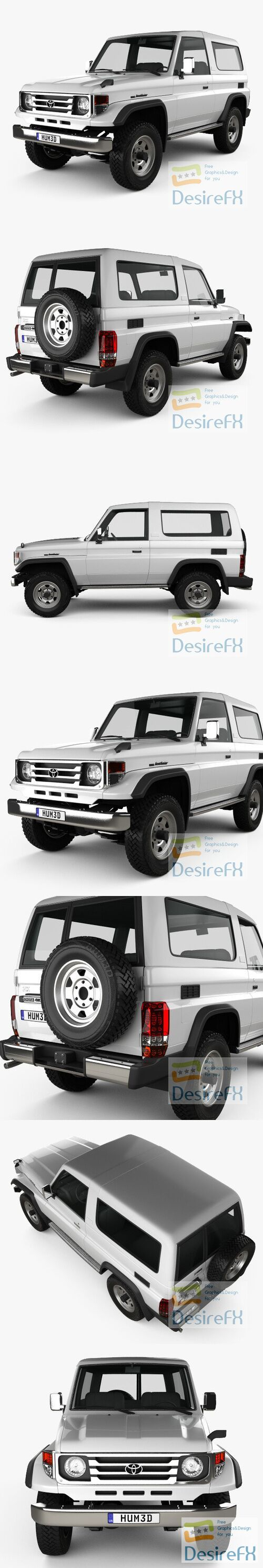Toyota Land Cruiser J70 3-door 1990 3D Model