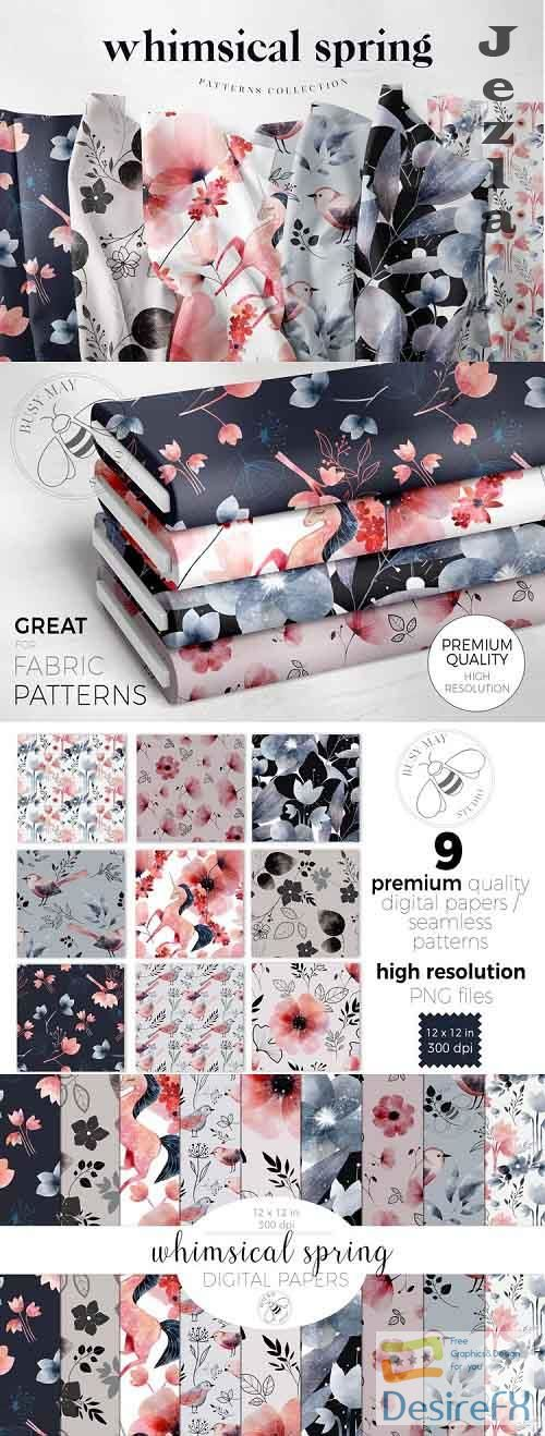 Watercolour Whimsical Spring Flowers Patterns Digital Papers - 1114744