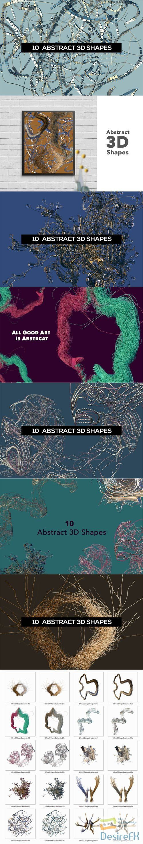10 Abstract Futuristic 3D Shapes