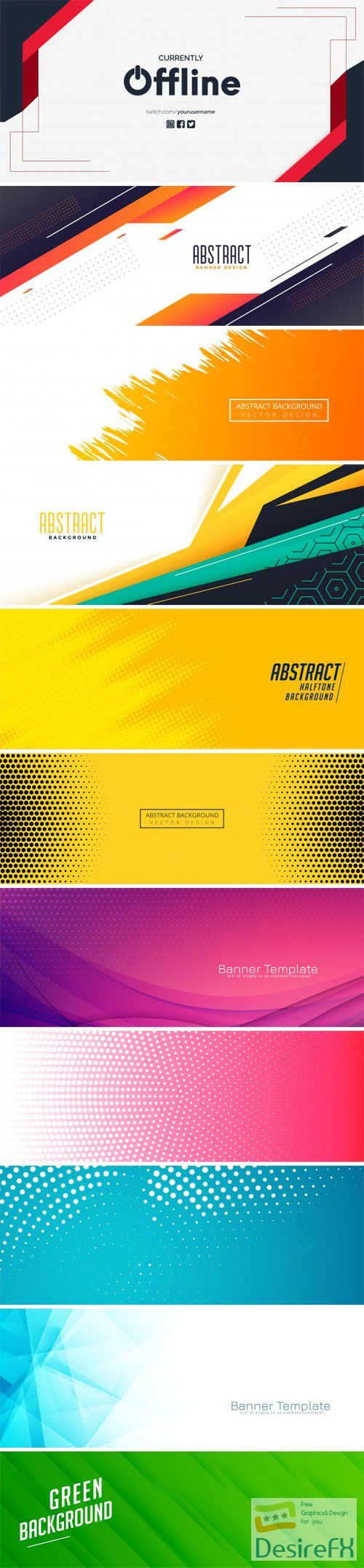 11 Abstract Banners Vector Templates