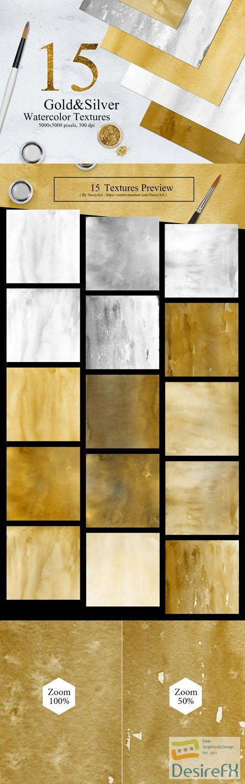 15 Gold & Silver Colors Watercolor Textures Collection