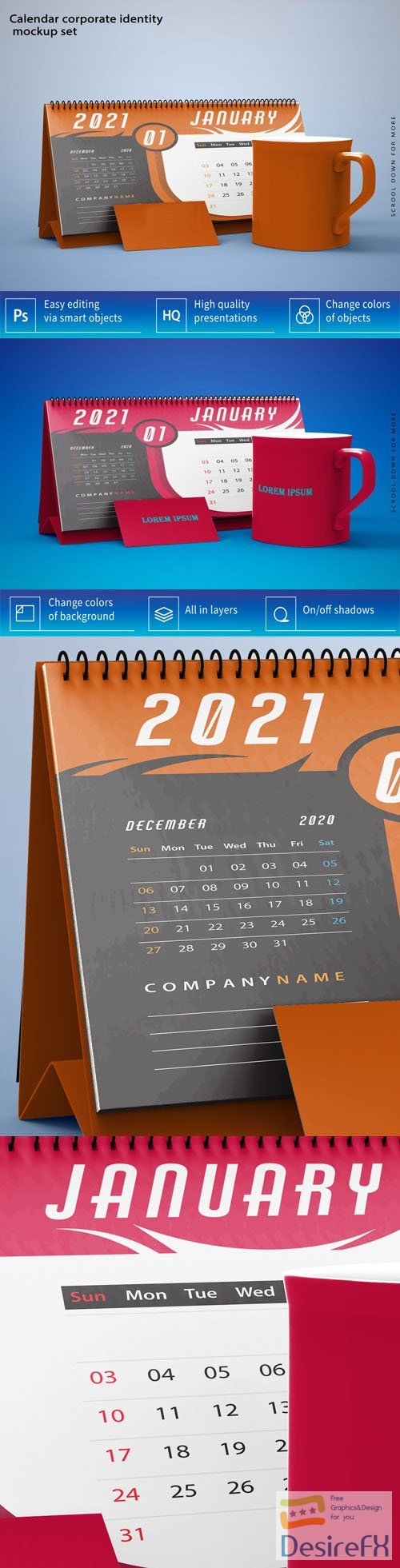 2021 Desktop Calendar Corporate Identity PSD Mockup Template