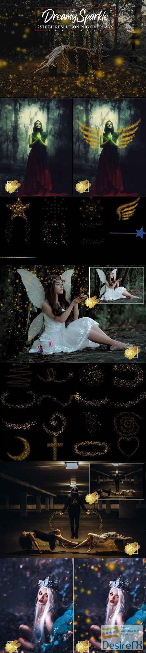 25 Dreamy Sparkle Overlays, Magical Golden Stardust - 1145207