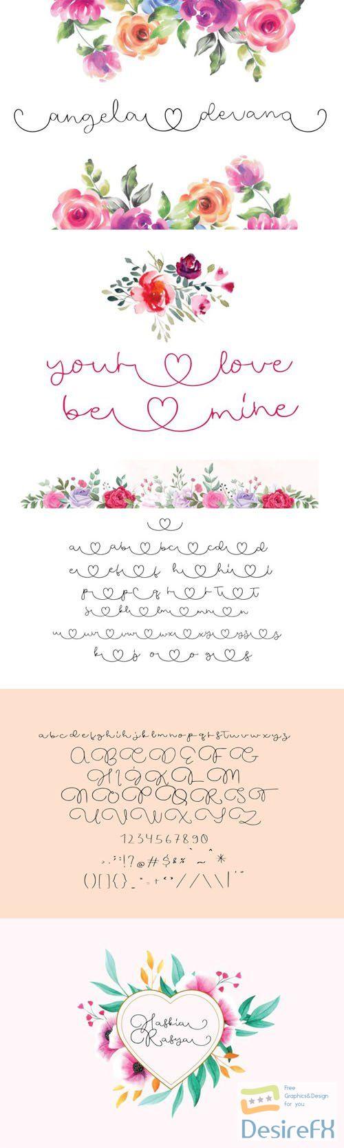 Angela Devano Wedding Love Calligraphy - Minimalist Script Font