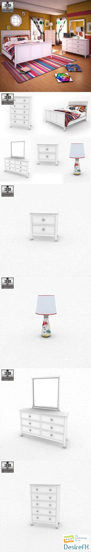 Ashley Caspian Panel Bedroom Set 3D Model