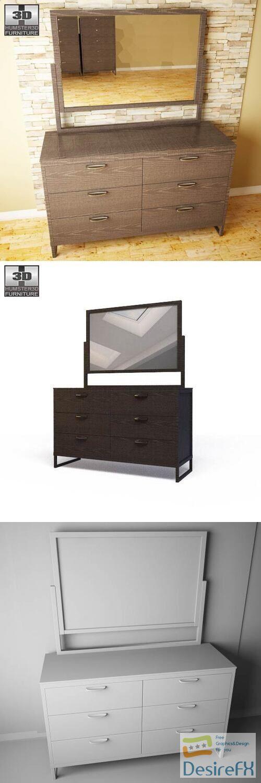 Ashley Sonya Dresser Mirror 3D Model