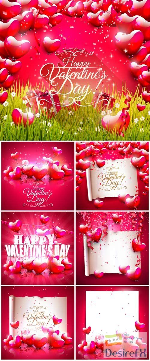 Backgrounds with hearts and white banners for valentine's day in vector