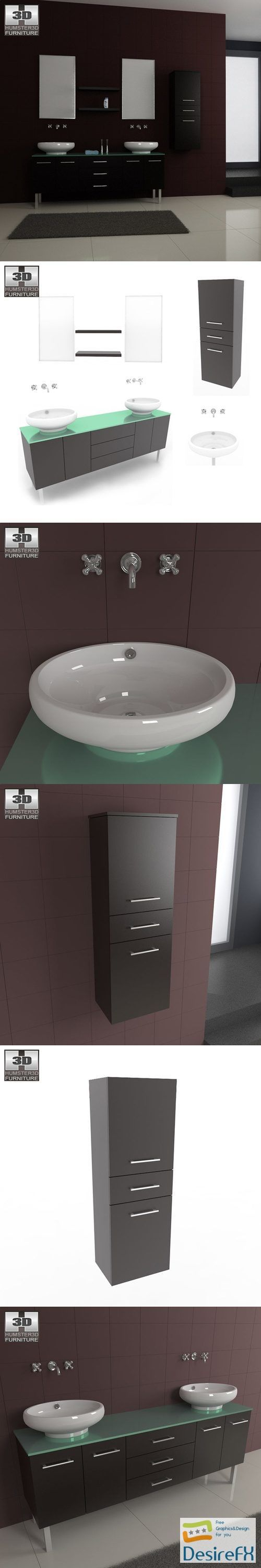 Bathroom Furniture 04 Set 3D Model