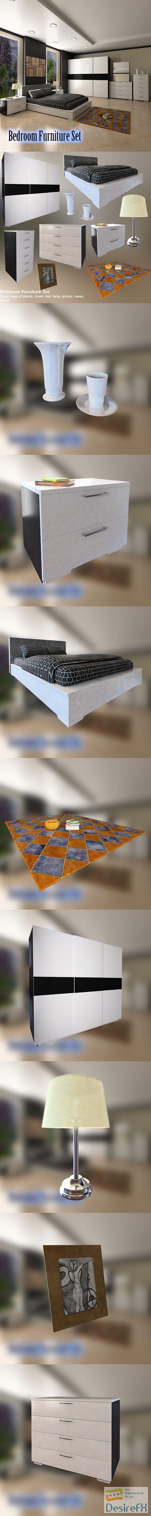 Bedroom Furniture 4 Set 3D Model