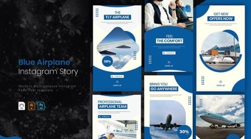 Blue Airplane   Instagram Story