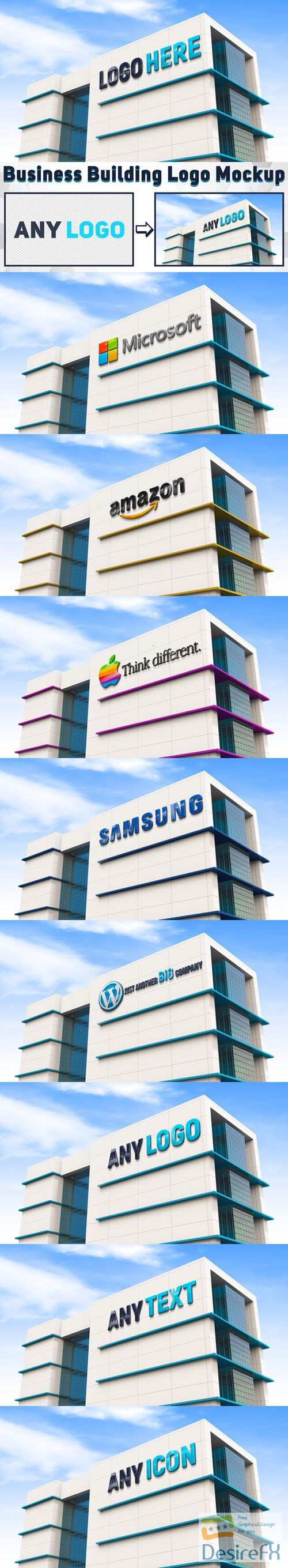 Building Logo With Realistic Quality Render - PSD Mockup Template