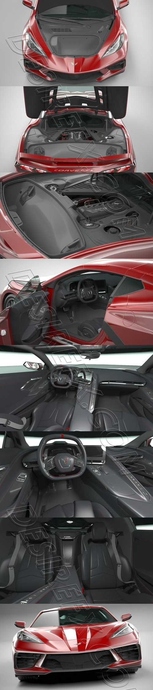 Chevrolet Corvette Stingray with HQ interior and Engine 2020 3D Model