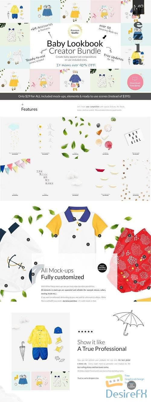 CreativeMarket - Baby Lookbook Creator Bundle Mockups 4065392