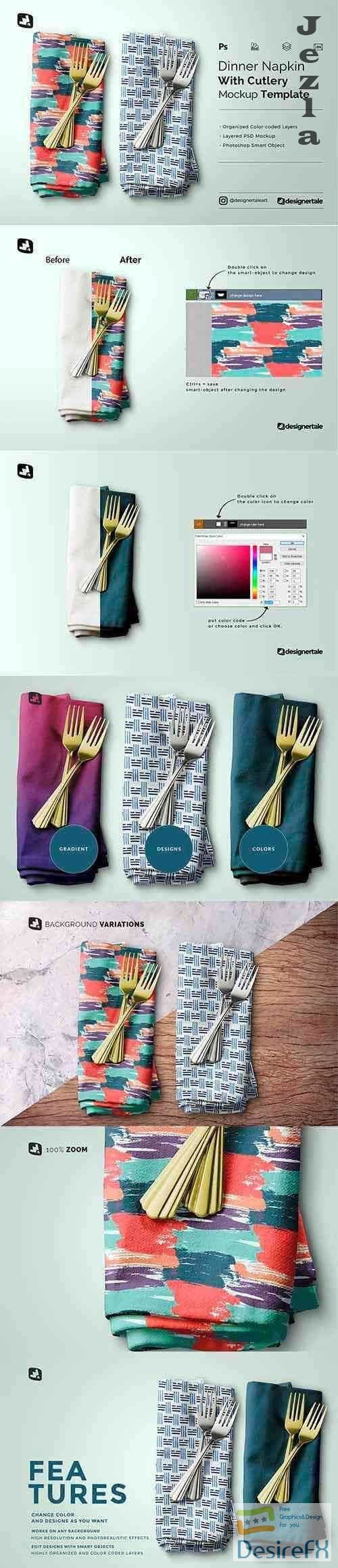 CreativeMarket - Dinner Napkin With Cutlery Mockup 5183051