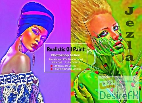 CreativeMarket - Realistic Oil Paint Photoshop Action 5755653