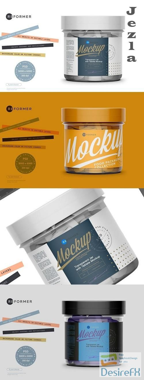 CreativeMarket - Transparent Jar with Tablets Mockup 5612998