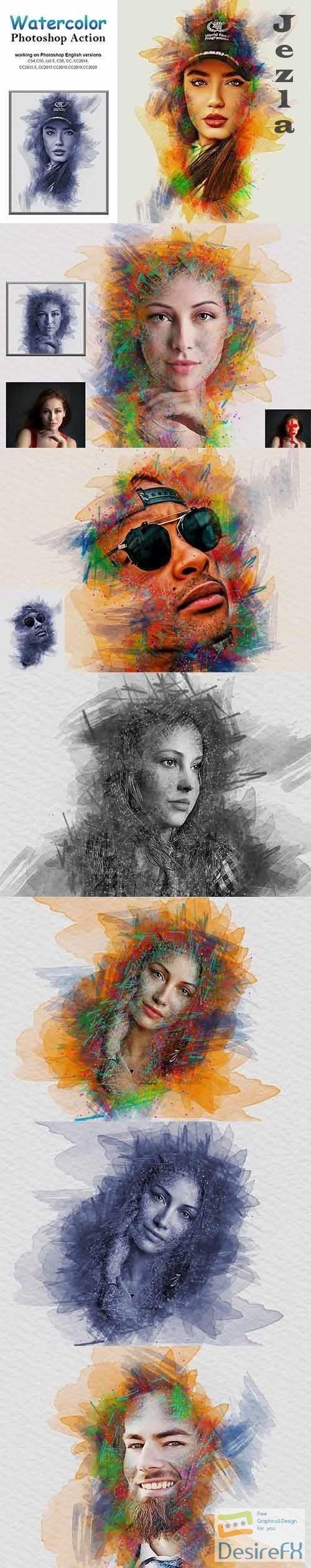 CreativeMarket - Watercolor Photoshop Action 5232780