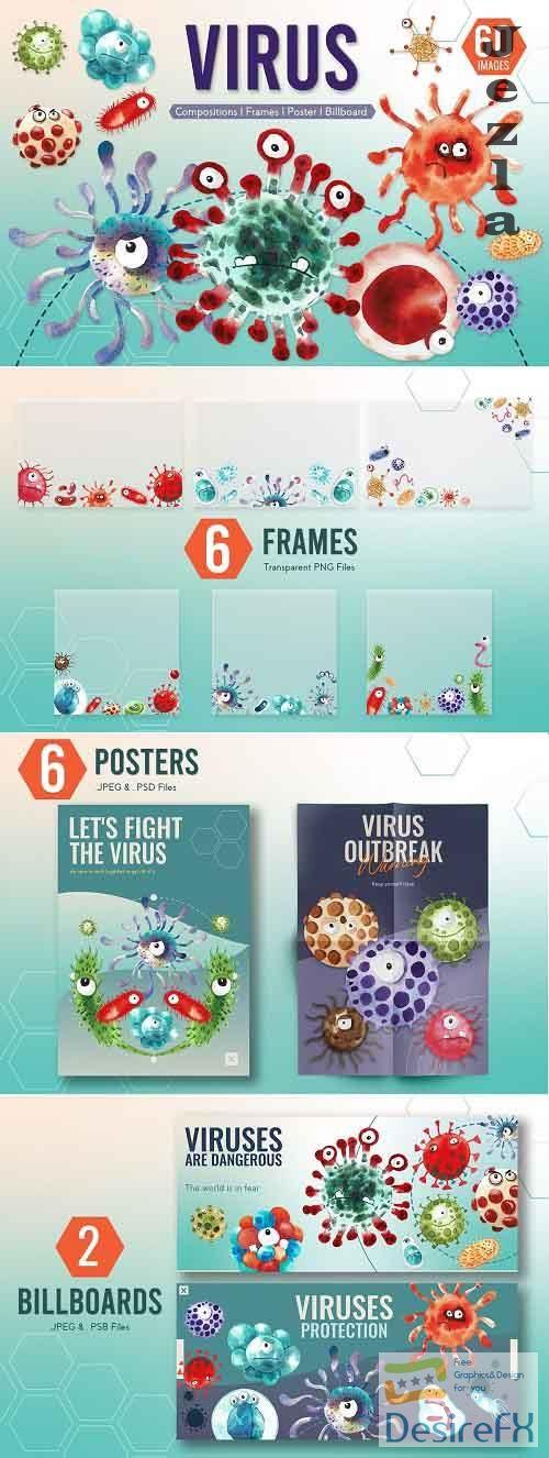 Cute Virus Cartoon Monster Character - 5797172