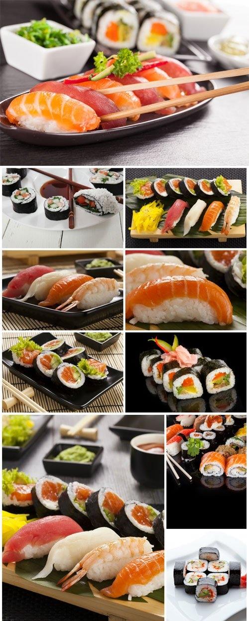 Delicious sushi sets stock photo