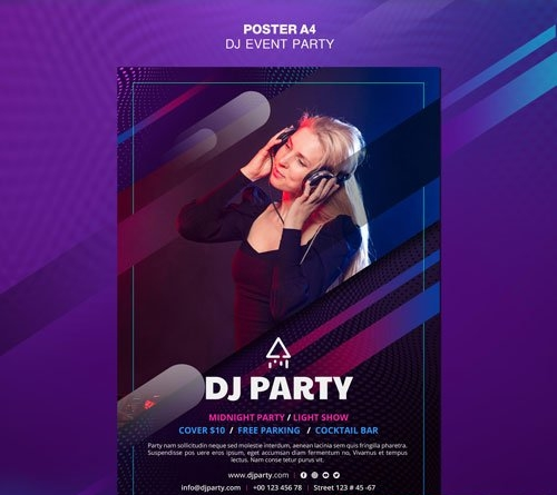 Dj party woman with headphones psd poster