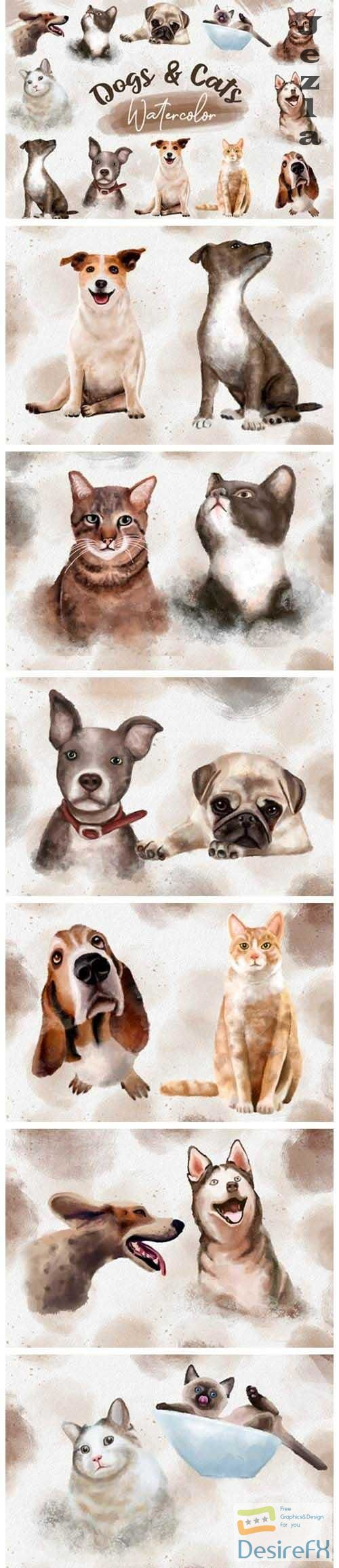 Dogs and Cats Watercolor Collection Clipart Bundle PNG - 1125968