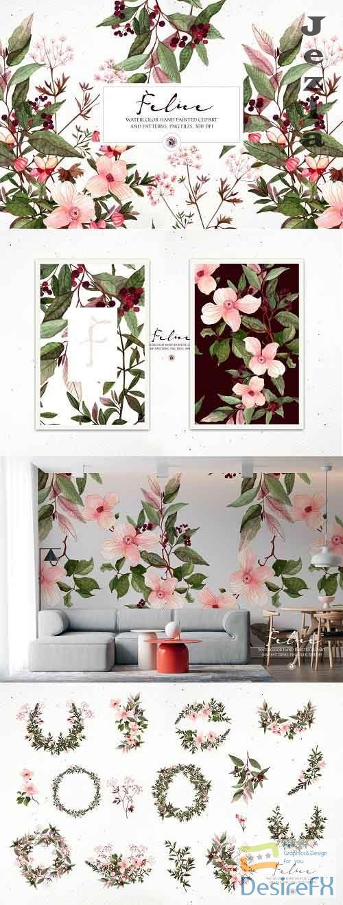 Felice - watercolor floral set - 5786274