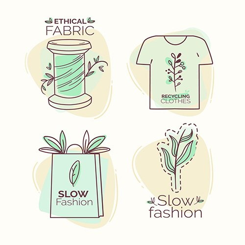 Flat slow fashion badge set