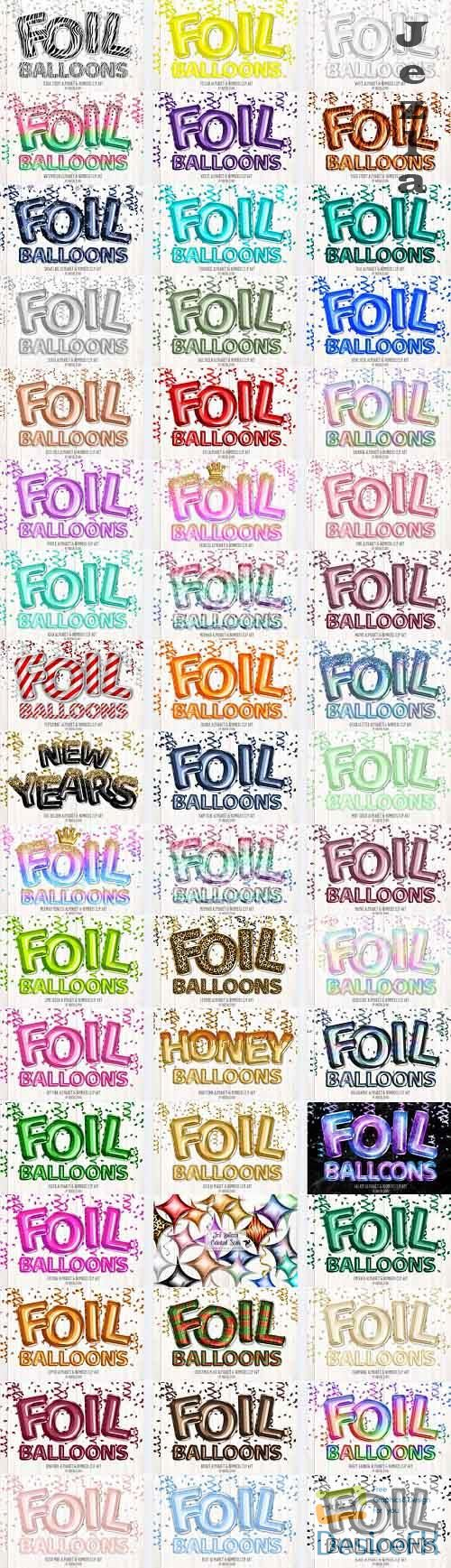 Foil Balloon Alphabet Clipart Bundle
