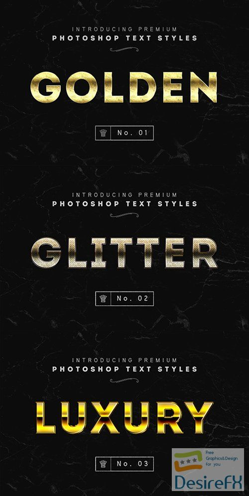 Golden, Glitter and Luxury Text Styles for Photoshop