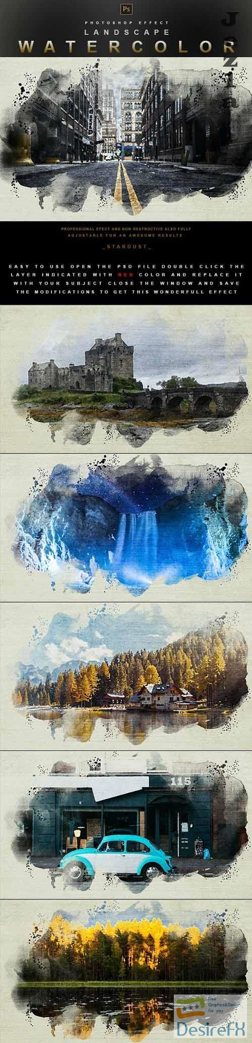 GraphicRiver - Landscape Watercolor - Photoshop Effect 29914082