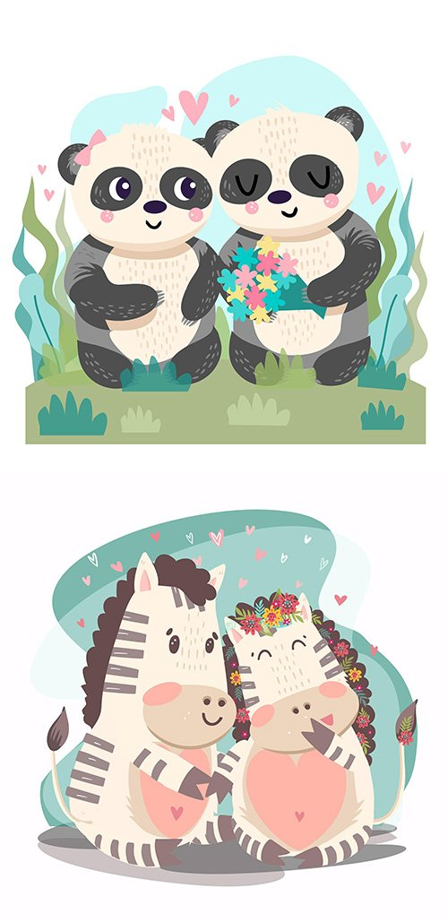 Hand-Drawn Valentines day animals couple