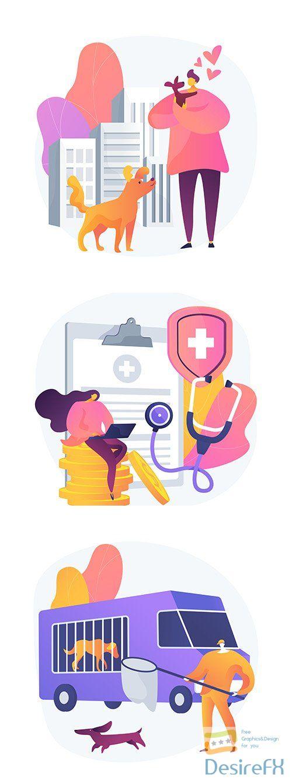 Health animals service concept illustrations