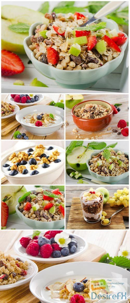 Healthy breakfast with fruits stock photo