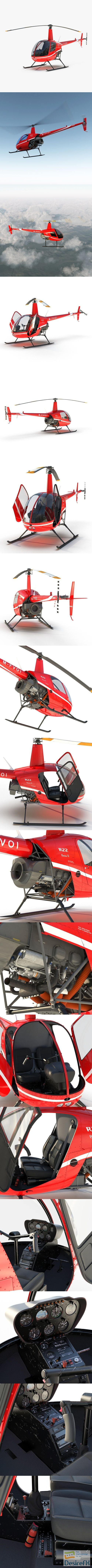 Helicopter Robinson R22 Red 3D Model